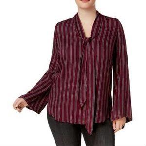 Melissa McCarthy Seven7 stripe blouse 1X NWOT